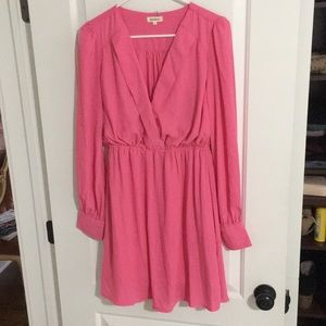 Long sleeve pink cocktail dress